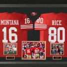 Joe Montana & Jerry Rice Signed San Francisco 49ers Authentic Jerseys Display.