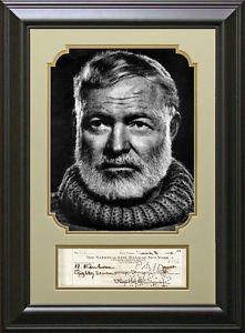 Ernest Hemingway Replica Signed Check Framed Display.