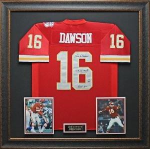 Len Dawson Autographed Jersey Framed