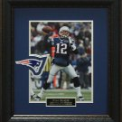 Tom Brady Photo With New England Patriots Official Patch Framed.