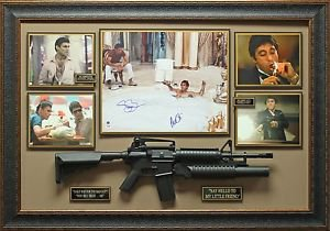 Al Pacino and Steven Bauer Signed Scarface Photo Framed
