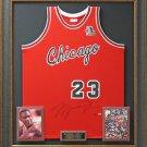 Michael Jordan Signed Bulls ROY M&N Jersey Display.