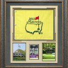 2013 Masters Flag with your Daily Ticket or Masters Tournament Badge Framed