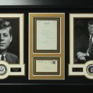 John F Kennedy Signed Letter Collage Display.