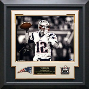 Tom Brady & Hauser Dual Signed New England Patriots Passing Photo Display.
