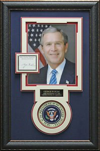 George W Bush Autographed Collage Framed Display.
