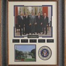 Five Presidents Photo With Replica Signatures Framed Display.