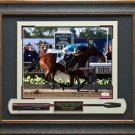 American Pharoah Photo Signed By Victor Espinoza At The Belmont Stakes Display.