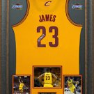 LeBron James Signed Cleveland Cavaliers Yellow Alternate Jersey Display.