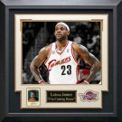 LeBron James Signed Upper Deck Card Collage Display.