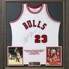 Michael Jordan Signed Bulls 30th Anniversary Rookie Jersey Display.