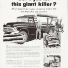 """1957 GMC Trucks Ad """"""""giant killer"""""""" ... (model year 1957)"""