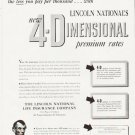 "1957 Lincoln National Life Insurance Ad """"4-Dimensional"""""