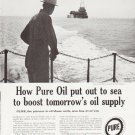"1957 Pure Oil Ad """"out to sea"""""