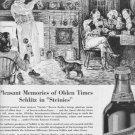 """1937 SCHLITZ BEER Ad """"PLEASANT MEMORIES OF OLDEN TIMES"""""""
