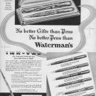 "1937 Waterman's Pens ""No Better Gifts"" Advertisement"