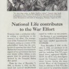 """1942 National Life Insurance Company Ad """"... contributes to the War Effort"""""""