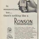 """1950 Ronson Ad """"in summertime, too ... there's nothing like a Ronson"""""""