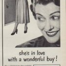 """1950 Pequot Sheets Ad """"she's in love with a wonderful buy !"""""""