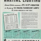 """1942 General Electric Ad """"Wartime Lighting"""""""