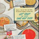 """1948 Campbell's Soup Ad """"Let Soup Be Your One Hot Dish"""""""