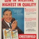 "1953 Chesterfield Ad ""Low In Nicotine"""
