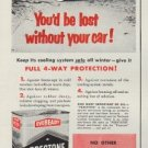 "1953 Prestone Ad ""You'd be lost without your car!"""