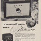 "1953 Alliance Manufacturing Ad ""Best Possible TV Reception"""