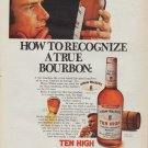 "1971 Ten High Bourbon Ad ""A True Bourbon"""