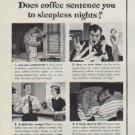 """1951 Sanka Coffee Ad """"sleepness nights"""""""