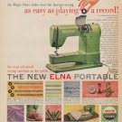 "1953 Elna Sewing Machine Ad ""easy as playing a record"""