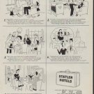 """1950 Statler Hotels Ad """"Woeful Will"""""""