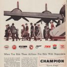 """1952 Champion Spark Plugs Ad """"When You Ride"""""""