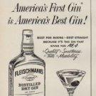 """1952 Fleischmann's Gin Ad """"America's First Gin"""""""