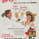 """1952 Carling's Red Cap Ale Ad """"Be Light-hearted"""""""