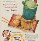 "1954 Meadow Gold Sherbet Ad ""Tropic Cooler"""