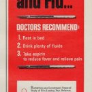 """1963 Bayer Aspirin Ad """"For Colds and Flu"""""""
