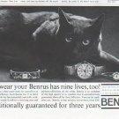 "1961 Benrus Watch Ad ""nine lives"""