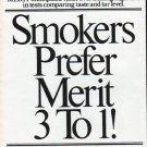 "1979 Merit Cigarettes Ad ""Smokers Prefer Merit"""