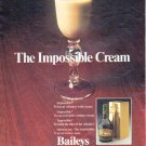 """1979 Baileys Irish Cream Liqueur Ad """"The Impossible Cream"""""""