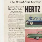 """1959 Hertz Rent a car Ad """"The Brand-New Corvair and the 1960 Chevrolet"""""""