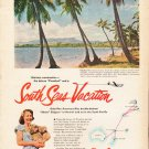 """1953 Pan American Airline Ad """"South Seas Vacation""""  2576"""
