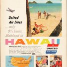 "1953 United Air Lines Ad ""Mainland to Hawaii""  2586"