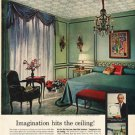 """1961 Johns-Manville Ad """"Imagination hits the ceiling!""""  2708"""