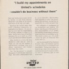 """1962 United Airlines Ad """"I build my appointments""""  2738"""
