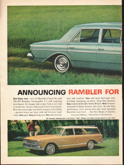 """1963 Rambler Ad """"The New Shape Of Quality"""" ~ (model year 1963)  2752"""