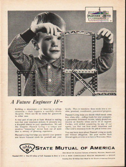 """1962 State Mutual of America Ad """"A Future Engineer""""  2761"""