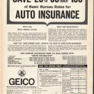 "1962 GEICO Ad ""Save $20 to $30""  2768"