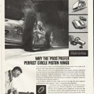 """1961 Perfect Circle Piston Rings Ad """"The """"Pros"""""""""""
