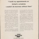 "1962 United Airlines Ad ""I build my appointments"""
